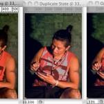 Prva je referentna fotografija, druga je nekorigirana referentna fotografija s uključenim proofom i gamut warningom, treća je obrađena fotografija s proofom. Kako je vidljivo, tonovi kože su ostali identični, no na nekim dijelovima maice crvenu boju nije moguće reproducirati u otisku, ono što je korigirano, zelenkasta boja i svjetlina pozadine.